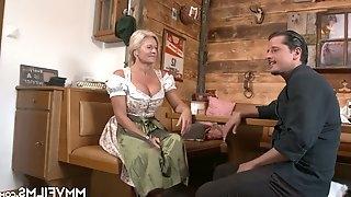 Busty German frau with pierced pussy Maria Montana fucks one dude in the pub