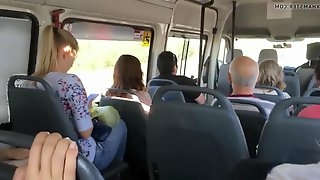 Lucky guy on the bus.