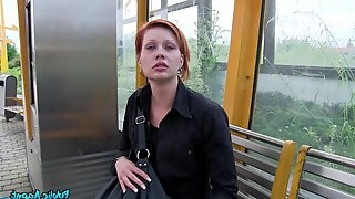 Redhead slut Lucie Dicas takes money and gets fucked in the public