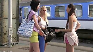 Three Lesbian girlfriends enjoying their new inflatable boat