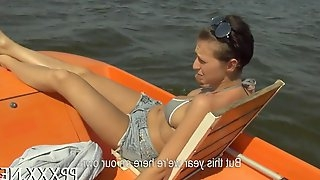 Honey gets her big tits groped on a boat